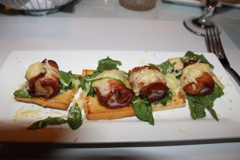 Birthday Dinner at Rapscallion - Bacon wrapped scallops