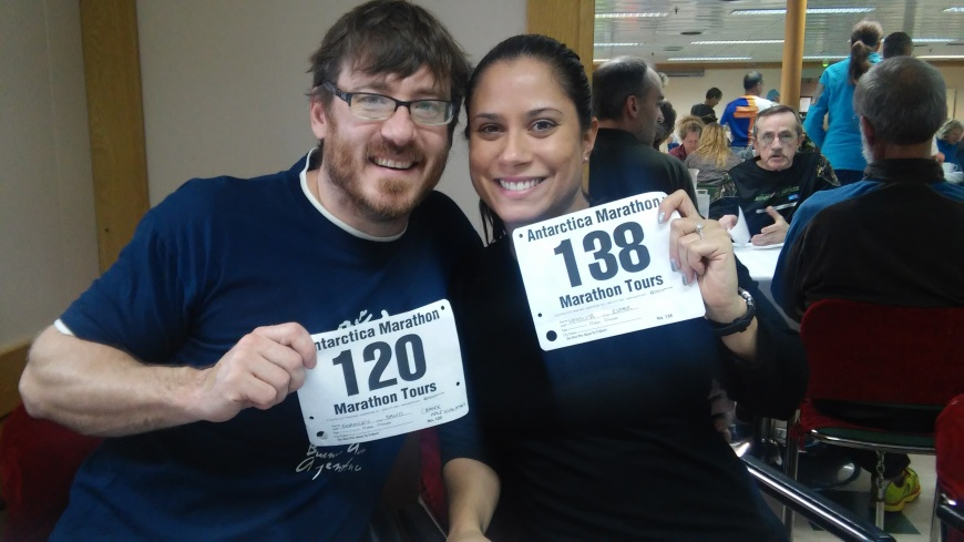 Getting our race bibs