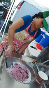 My student making Gelato at the Ski Run Farmer's Market