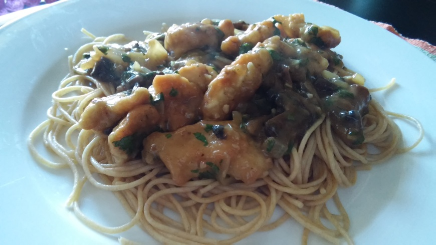 Chicken Marsala over Pasta